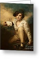 Boy And Rabbit Greeting Card by Sir Henry Raeburn