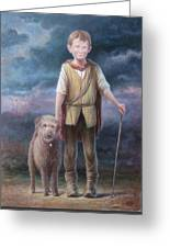 Boy With Dog Greeting Card by Hans Droog