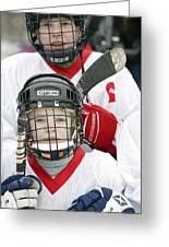 Boys Playing Ice Hockey Greeting Card by Ria Novosti