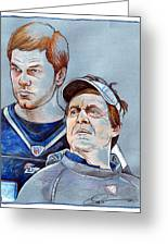 Brady And Belichick Greeting Card by Dave Olsen