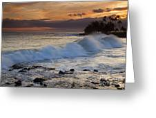 Brennecke Waves Sunset Greeting Card by Mike  Dawson