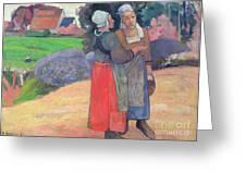 Breton Peasants Greeting Card by Paul Gauguin