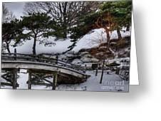 Bridge At Botanical Garden Greeting Card by David Bearden