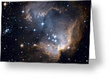 Bright Blue Newborn Stars Blast A Hole Greeting Card by ESA and nASA