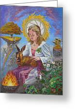 Brigid Goddess Celtic Goddess Of Fire Greeting Card by Tomas OMaoldomhnaigh
