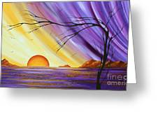 Brilliant Purple Golden Yellow Huge Abstract Surreal Tree Ocean Painting Royal Sunset By Madart Greeting Card by Megan Duncanson