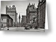 Broad Street Philadelphia 1905 Greeting Card by Bill Cannon
