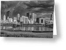 Brooding Above the Burgh Greeting Card by Jennifer Grover