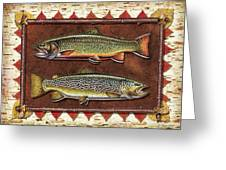 Brook And Brown Trout Lodge Greeting Card by JQ Licensing