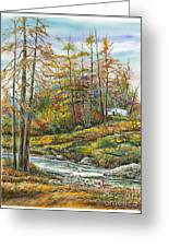 Brook In Autumn Greeting Card by Samuel Showman