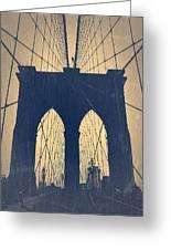 Brooklyn Bridge Blue Greeting Card by Naxart Studio
