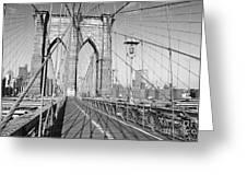 Brooklyn Bridge Deck Greeting Card by Andrew Kazmierski