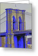Brooklyn Bridge In Blue Greeting Card by Christopher Kirby