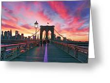 Brooklyn Sunset Greeting Card by Rick Berk
