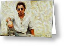 Bruce Springsteen Greeting Card by Elizabeth Coats