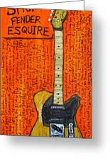 Bruce Springsteen's Fender Esquire Greeting Card by Karl Haglund