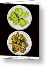 Brussel Sprouts Right And Wrong Greeting Card by John Scariano