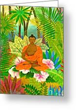 Buddha In The Jungle Greeting Card by Jennifer Baird