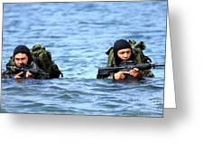 Buds Students Wade Ashore During An Greeting Card by Stocktrek Images