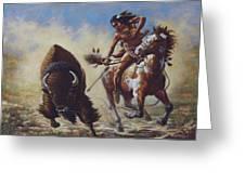 Buffalo Hunter Greeting Card by Harvie Brown