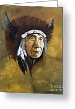 Buffalo Shaman Greeting Card by J W Baker