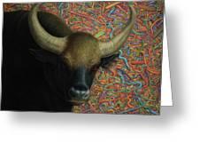 Bull In A Plastic Shop Greeting Card by James W Johnson