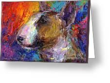Bull Terrier Dog Painting Greeting Card by Svetlana Novikova