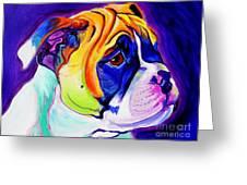 Bulldog - Pup Greeting Card by Alicia VanNoy Call