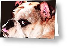 Bulldog Art - Let's Play Greeting Card by Sharon Cummings