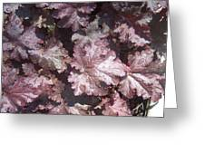 Burgandy Leaves After The Rain Greeting Card by Anna Villarreal Garbis