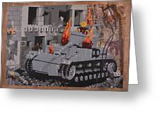 Burning Panzer Iv Greeting Card by Josh Bernstein