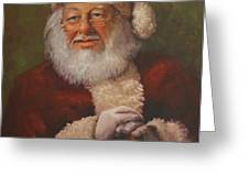 Burts Santa Greeting Card by Vicky Gooch