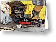 Bus Repairs Greeting Card by Dawn Currie