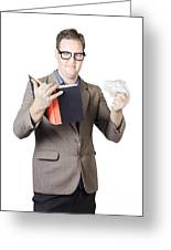 Businessman With Book And Crumpled Paper Greeting Card by Ryan Jorgensen