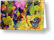 Butterfly And Grapes Greeting Card by Peggy Wilson