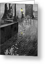Bw Prague Charles Bridge 01 Greeting Card by Yuriy  Shevchuk