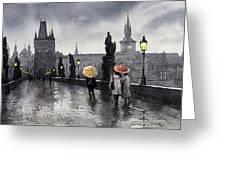 Bw Prague Charles Bridge 05 Greeting Card by Yuriy  Shevchuk