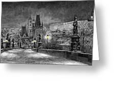 BW Prague Charles Bridge 06 Greeting Card by Yuriy  Shevchuk