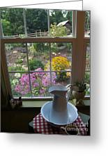 By The Garden Window In North Carolina Greeting Card by Anna Lisa Yoder