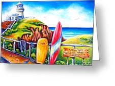 Byron Bay Lighthouse Greeting Card by Deb Broughton
