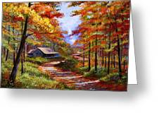 Cabin In The Woods Greeting Card by David Lloyd Glover