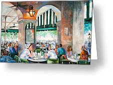 Cafe Girls Greeting Card by Dianne Parks