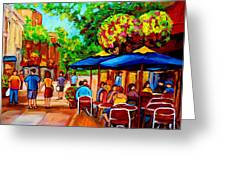 Cafe On Prince Arthur  In Montreal  Greeting Card by Carole Spandau