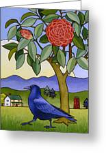 Camellia And Crow Greeting Card by Stacey Neumiller