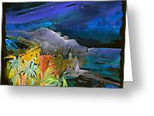 Camogli By Night In Italy Greeting Card by Miki De Goodaboom