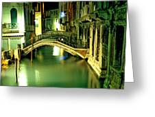 Canal And Bridge In Venice At Night Greeting Card by Michael Henderson