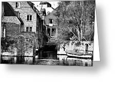 Canal Living In Bruges Greeting Card by John Rizzuto
