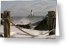 Canal Park Lighthouse Greeting Card by Heidi Hermes