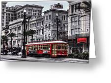 Canal Street Trolley Greeting Card by Tammy Wetzel