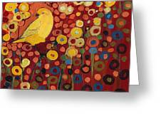 Canary In Red Greeting Card by Jennifer Lommers
